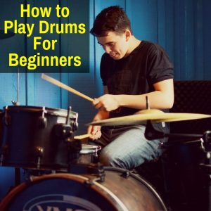 Beginner playing the drums